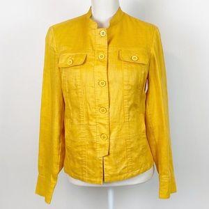 Linen Sunflower Yellow Coldwater Creek Jacket 10